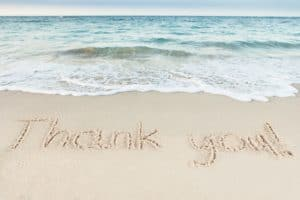 Be Obsessively Grateful Thank You Written On Sand By Sea