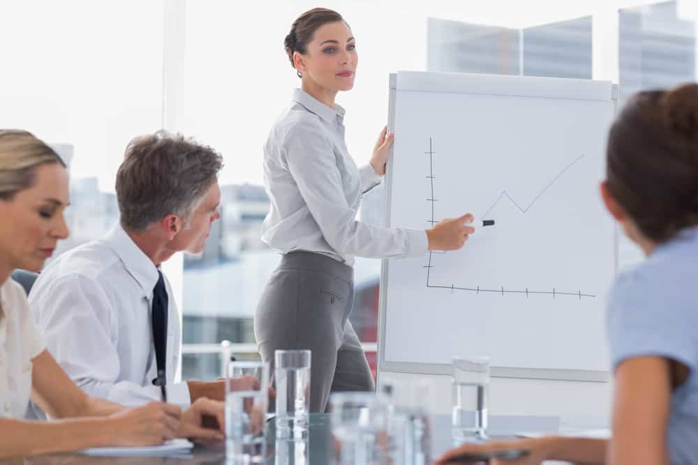 Strive For Progress Not Perfection Businesswoman showing a chart on a whiteboard